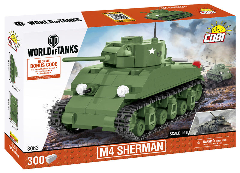 World Of Tanks M4 Sherman Tank, 1:48 scale 300 Piece Block Kit By Cobi