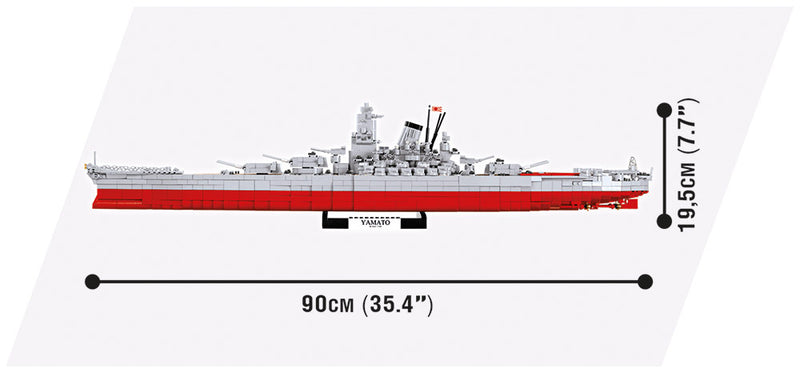 World Of Warships Yamato Battleship, 2500 Piece Block Kit By Cobi Side View Dimensions