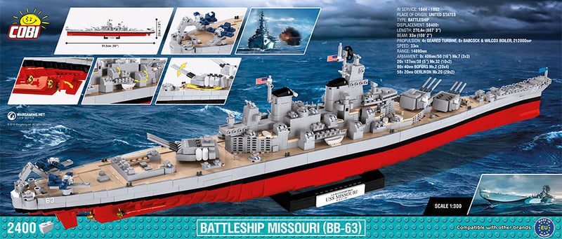 World Of Warships USS Missouri Battleship, 2400 Piece Block Kit Back Of Box