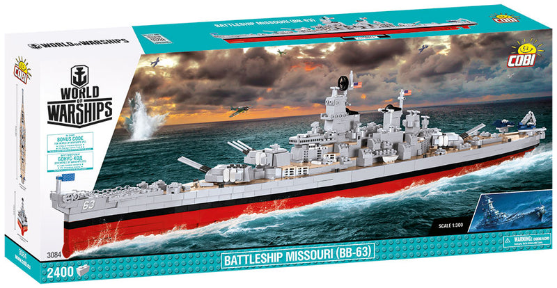 World Of Warships USS Missouri Battleship, 2400 Piece Block Kit By Cobi