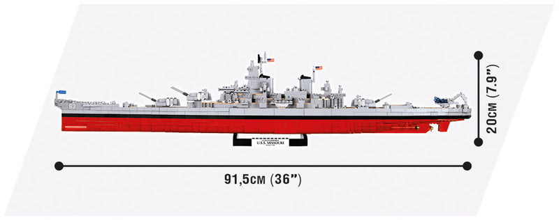 World Of Warships USS Missouri Battleship, 2400 Piece Block Kit Side View Dimensions