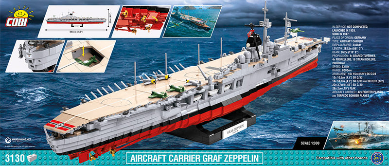 World Of Warships Graf Zeppelin Aircraft Carrier, 3130 Piece Block Kit Back Of Box