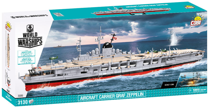 World Of Warships Graf Zeppelin Aircraft Carrier, 3130 Piece Block Kit By Cobi