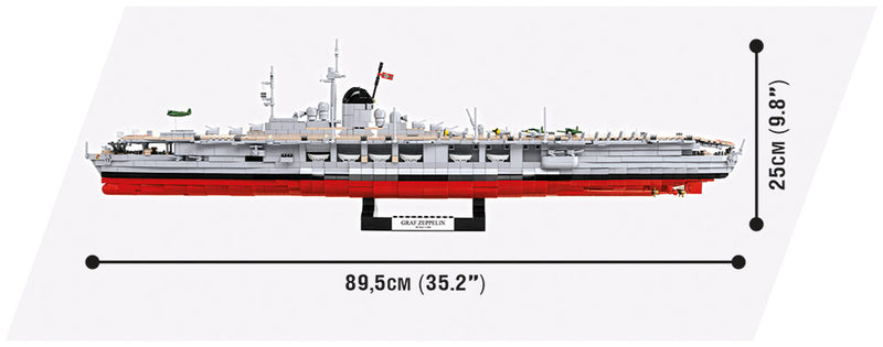 World Of Warships Graf Zeppelin Aircraft Carrier, 3130 Piece Block Kit By Cobi Side View