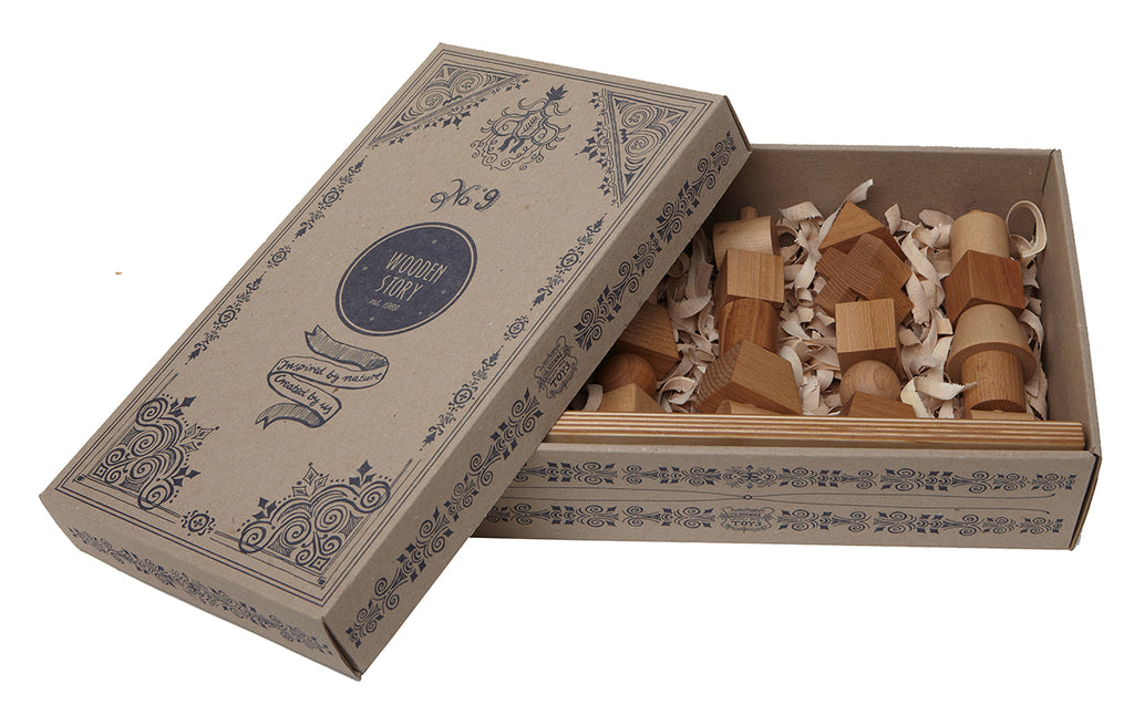 Natural Colored Wood Stacking Toy By Wooden Story In Paper Box