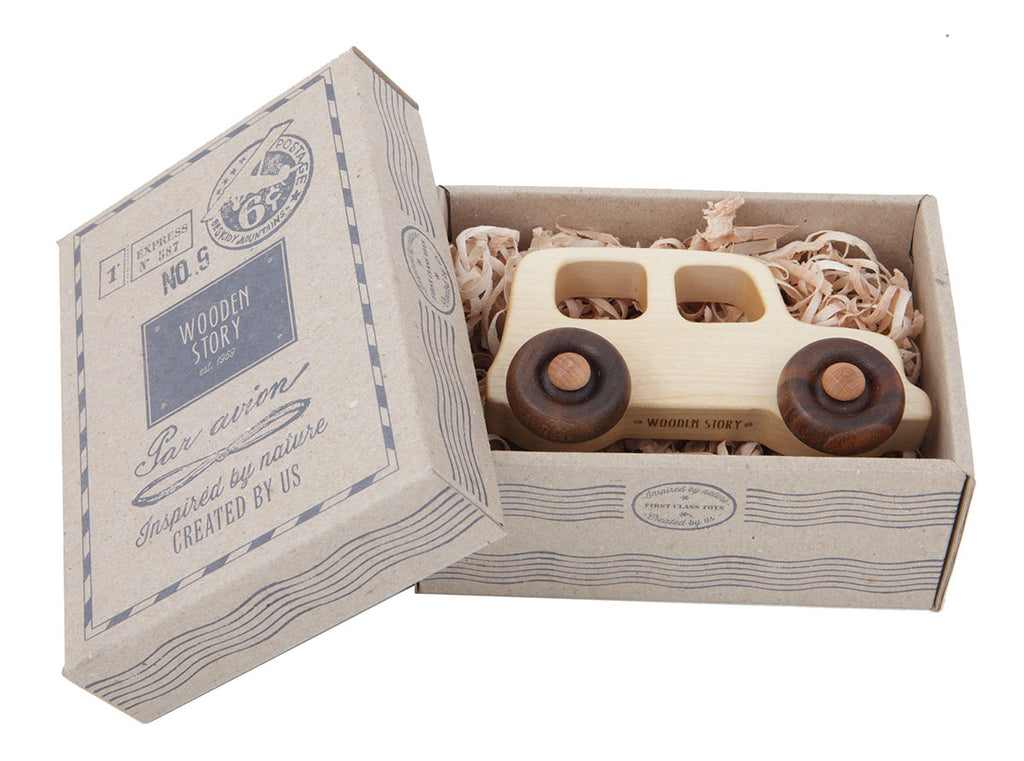 Off Road Vehicle Natural Colored Wood Toy Car By Wooden Story In Box