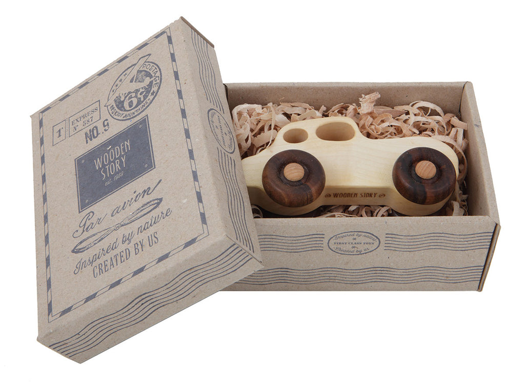 Retro Car Natural Colored Wood Toy Car By Wooden Story In Box