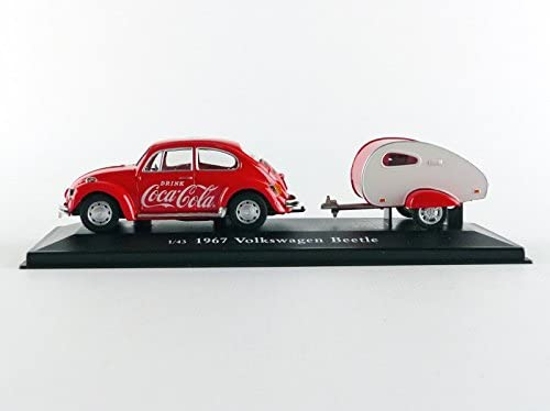 "Volkswagen Beetle W/ Teardrop Trailer 1967 ""Coca-Cola"" 1:43 Scale Diecast Model Side View"