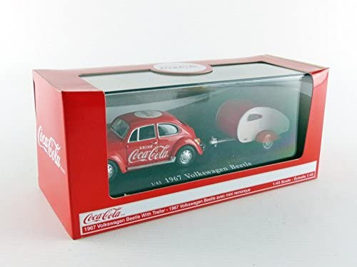 "Volkswagen Beetle W/ Teardrop Trailer 1967 ""Coca-Cola"" 1:43 Scale Diecast Model In Box"