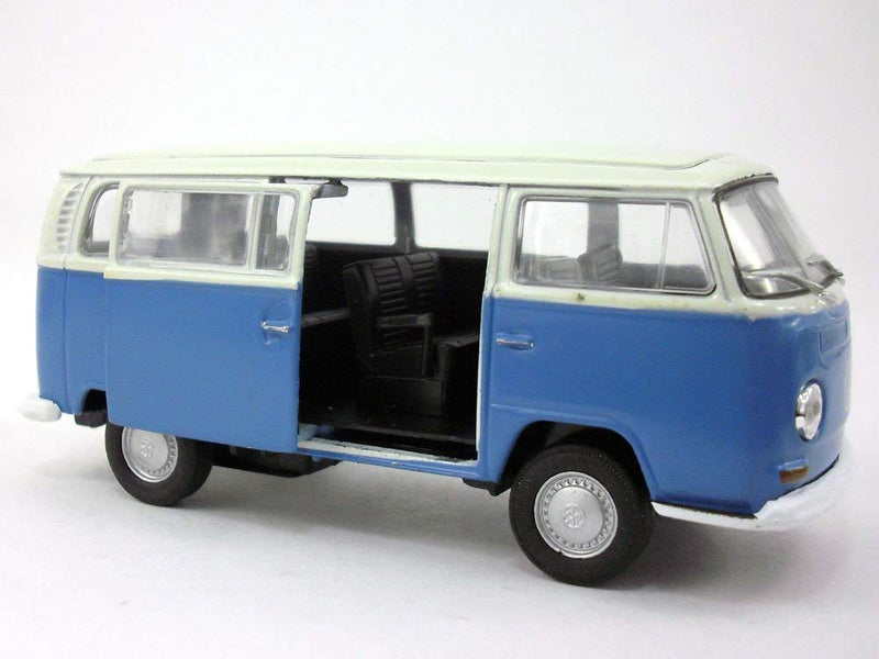 VW 1972 T2 Bus  (Blue) 1/38 Scale Model Car By Welly Side View