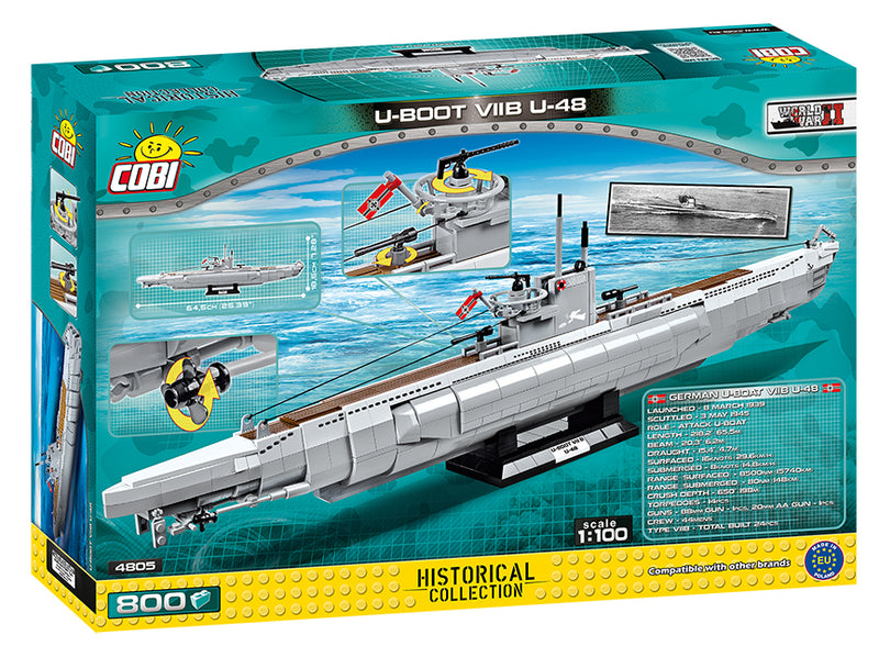 U-Boot U-48 Type VIIB Submarine, 800 Piece Block Kit Back Of Box