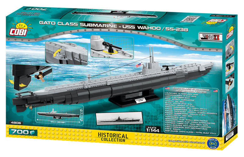 USS Wahoo Submarine SS-238, 700 Piece Block Kit By Cobi Box Back
