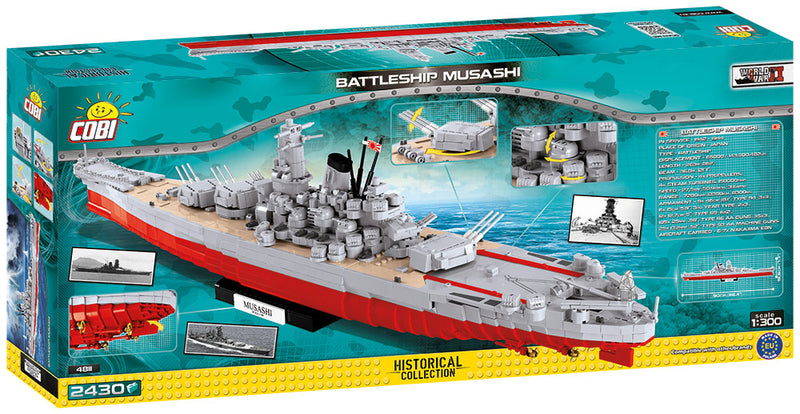 Musashi Battleship 1:300 Scale, 2430 Piece Block Kit By Cobi Rear Of Box
