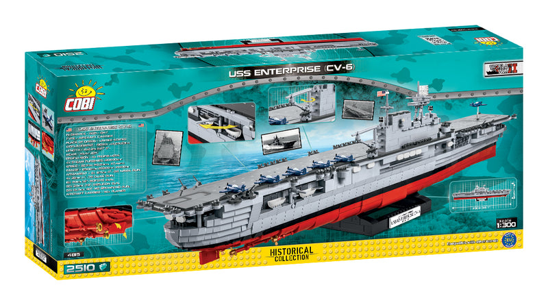 USS Enterprise CV-6 Aircraft Carrier 1:300 Scale, 2510 Piece Block Kit By Cobi Back Of Box