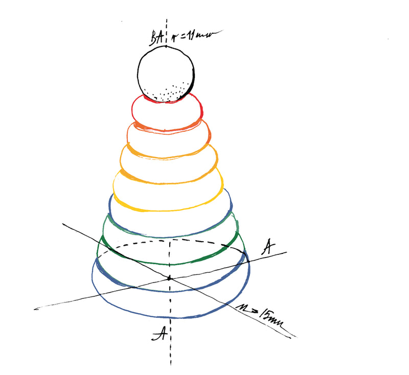 Wooden Story Rainbow Round Stacker Drawing