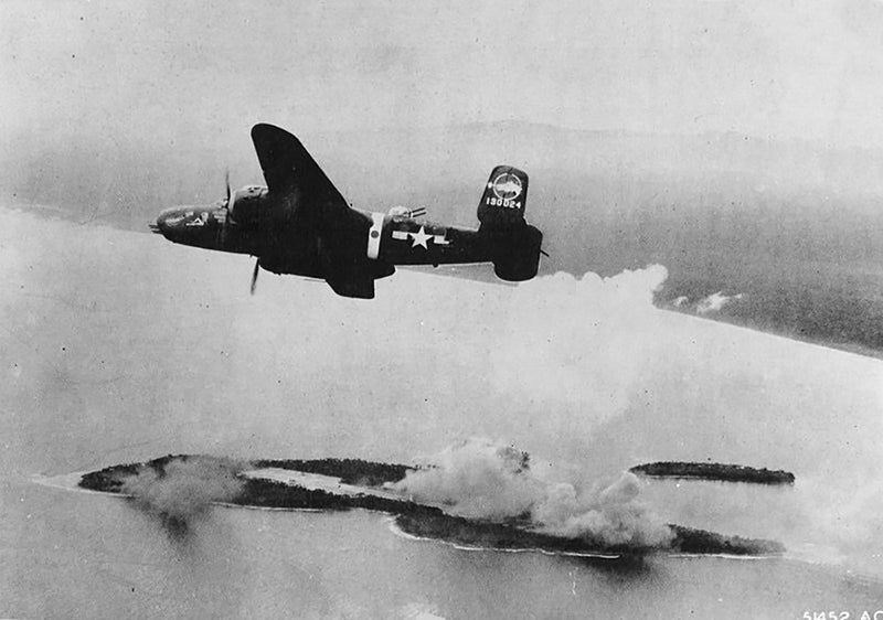 345th Bombardment Group B-25 Mitchell over Wake Island