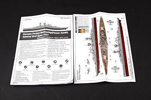 Admiral Graf Spee Pocket Battleship 1937, 1:700 Scale Model Kit Instructions