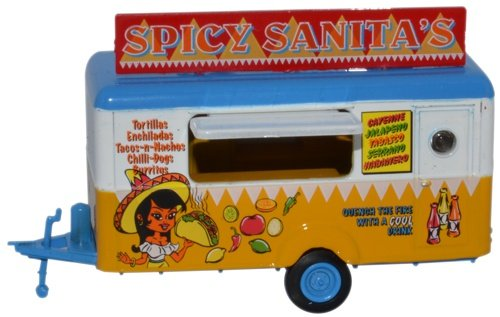 Mobile Food Trailer - Spicy Sanita's, 1:87 (HO) Scale Model By Oxford Diecast