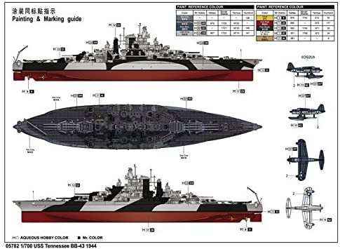 USS Tennessee BB-43 1944, 1:700 Scale Model Kit Paint Guide