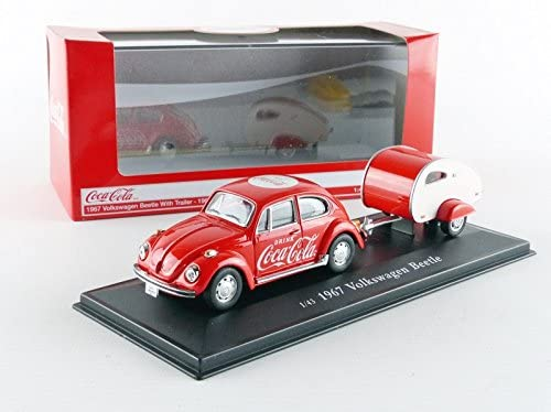 "Volkswagen Beetle W/ Teardrop Trailer 1967 ""Coca-Cola"" 1:43 Scale Diecast Model Display Stand"