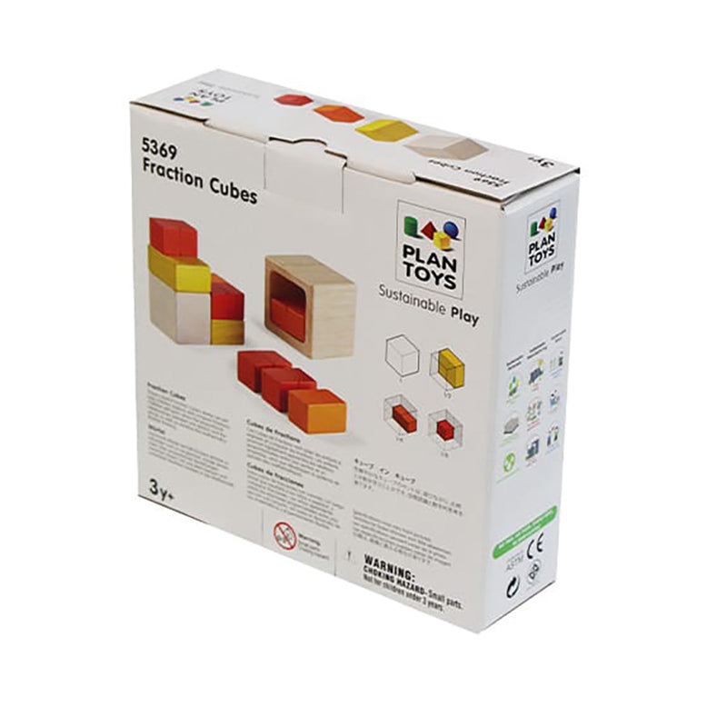Fraction Cubes Wooden Blocks By Plan Toys Back Of Box