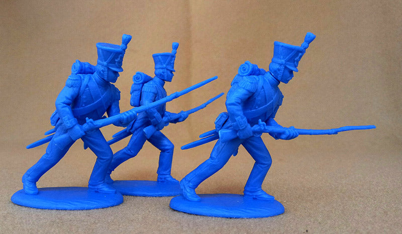 Napoleonic Wars French Grenadiers & Voltguers, 54 mm (1/32) Scale Plastic Figures By Expeditionary Force Advancing Poses