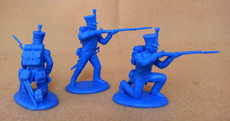 Napoleonic Wars French Grenadiers & Voltguers, 54 mm (1/32) Scale Plastic Figures By Expeditionary Force Firing Poses