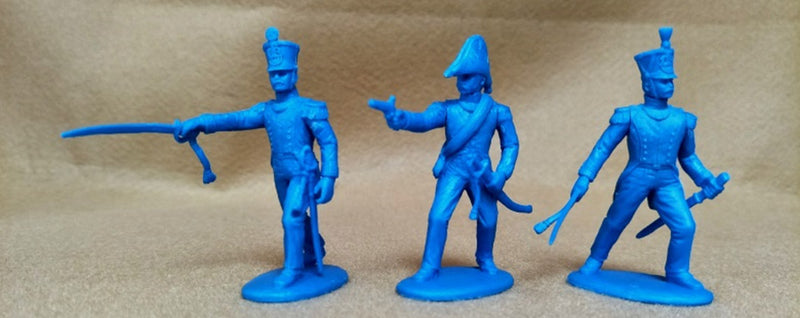 Napoleonic Wars French Line Infantry Officers, 54 mm (1/32) Scale Plastic Figures By Expeditionary Force 3 Standing Poses