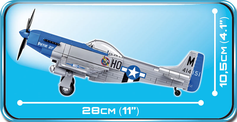 North American P-51D Mustang 1944, 265 Piece Block Kit By Cobi Side Dimensions