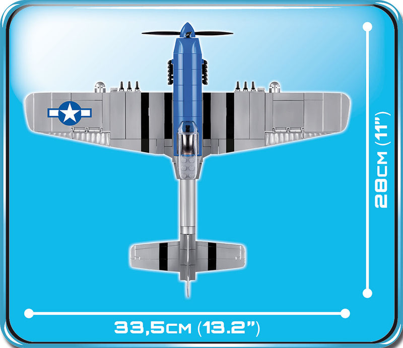 North American P-51D Mustang 1944, 265 Piece Block Kit By Cobi Top Dimensions