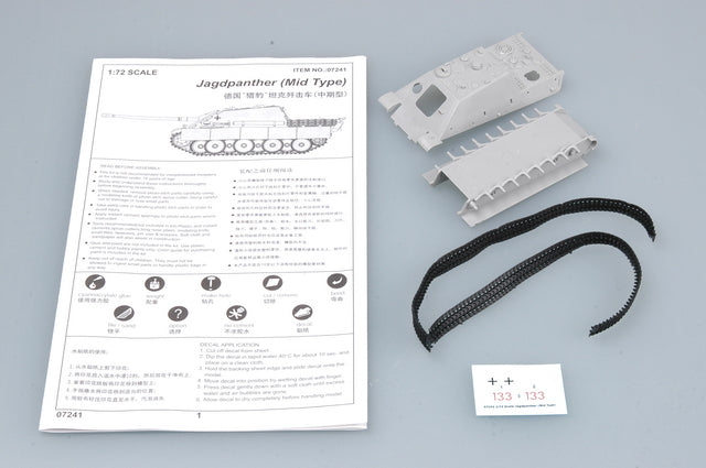 Jagdpanther (Mid Type),1:72 Scale Model Kit Instructions & Hulls