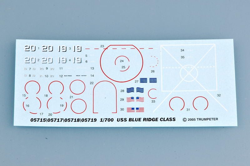 USS Mount Whitney LLC-20 1997 1:700 Scale Model Kit Decals