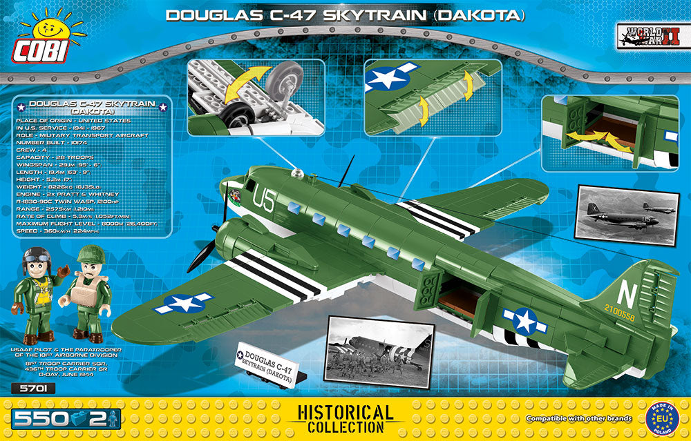 Douglas C-47 Skytrain (Dakota), 550 Piece Block Kit By Cobi Box Rear