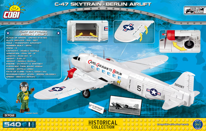 Douglas C-47 Skytrain (Dakota) Berlin Airlift 540 Piece Block Kit Back Of Box