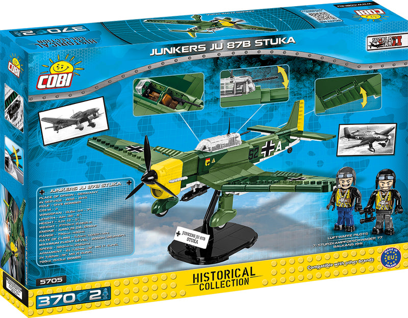 Junkers Ju 87 B-3 Stuka, 370 Piece Block Kit Back Of Box