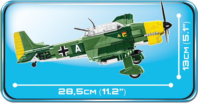Junkers Ju 87 B-3 Stuka, 370 Piece Block Kit Side View Dimensions