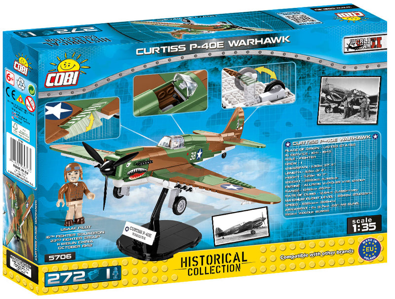 Curtiss P-40E Warhawk, 272 Piece Block Kit By Cobi Back Of Box