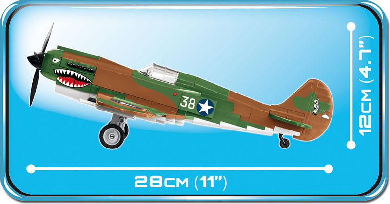 Curtiss P-40E Warhawk, 272 Piece Block Kit By Cobi Side View Dimensions