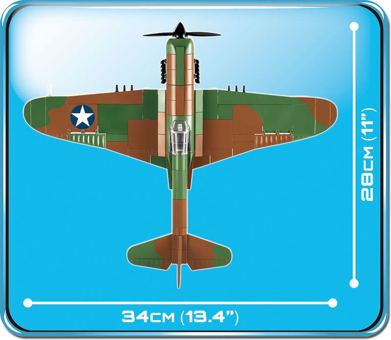 Curtiss P-40E Warhawk, 272 Piece Block Kit By Cobi Top View Dimensions