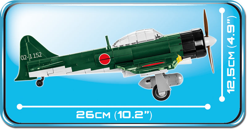 "Mitsubishi A6M5 ""Zero"", 280 Piece Block Kit By Cobi Side View Dimensions"