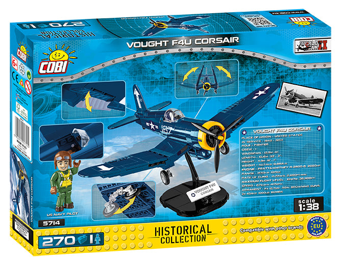Vought F4U Corsair, 270 Piece Block Kit By Cobi Back Of Box