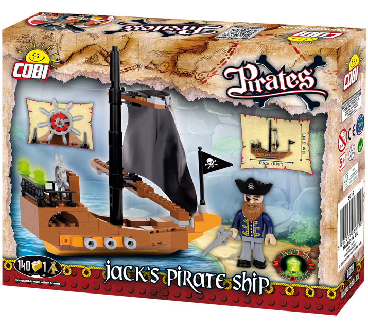 Jack's Pirate Ship 140 Piece Block Kit By Cobi Back Of Box