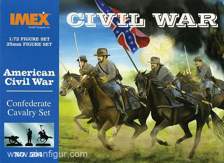 American Civil War Confederate Cavalry, 1/72 Scale Plastic Figures By IMEX