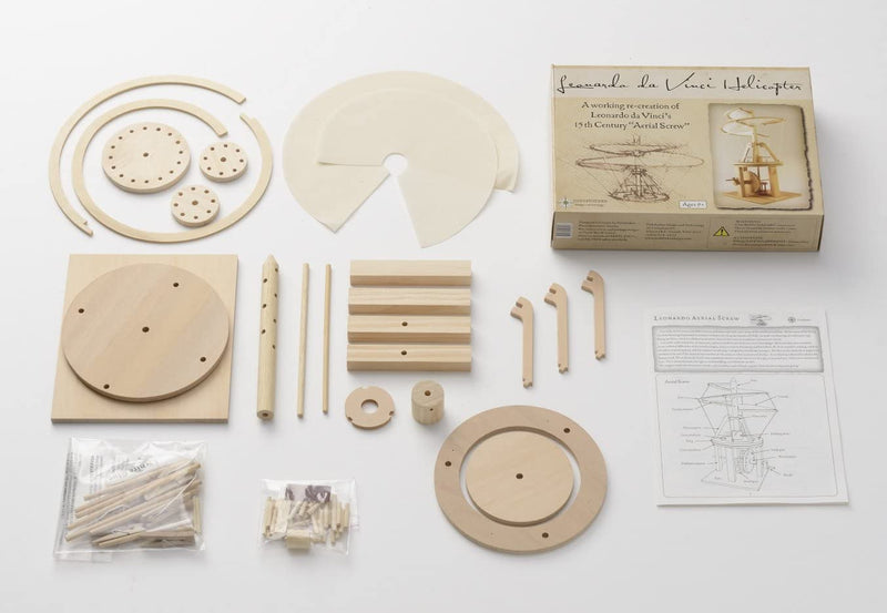 Leonardo Da Vinci Aerial Screw (Helicopter) Wooden Kit By Pathfinders Design Box Contents