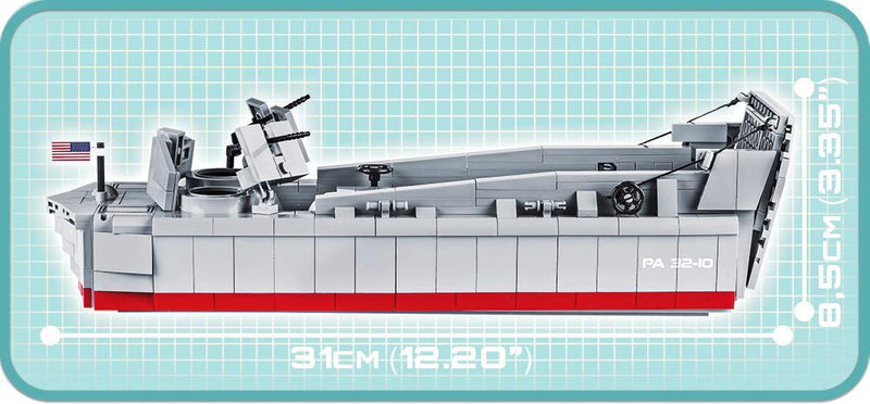 Landing Craft Vehicle Personnel (LCVP) Higgins Boat D-Day, 510 Piece Block Kit By Cobi Side View Dimensions