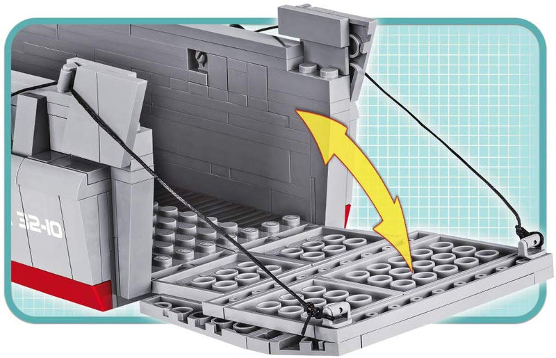 Landing Craft Vehicle Personnel (LCVP) Higgins Boat D-Day, 510 Piece Block Kit By Cobi Ramp Detail