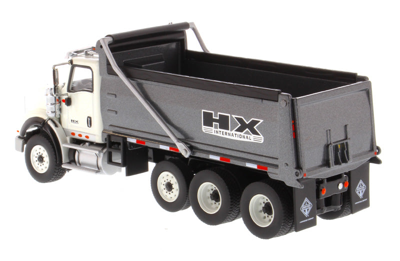 International HX620 Tri-Axle Tractor (White) W/ Dump Truck (Gun Metal Gray), 1:50 Scale Model By Diecast Masters