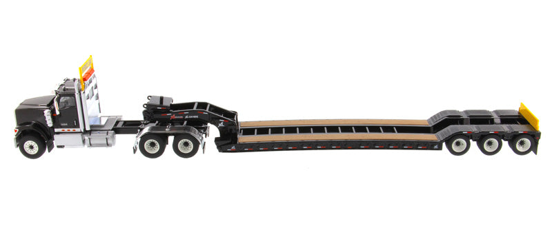 International HX520 Tandem Tractor (Black) W/ XL 120 Trailer (Black), 1:50 Scale  Model By Diecast Masters