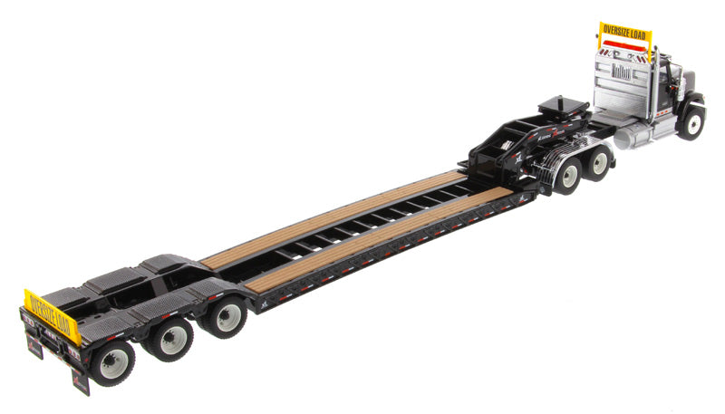 International HX520 Tandem Tractor (Black) W/ XL 120 Trailer (Black), 1:50 Scale Model