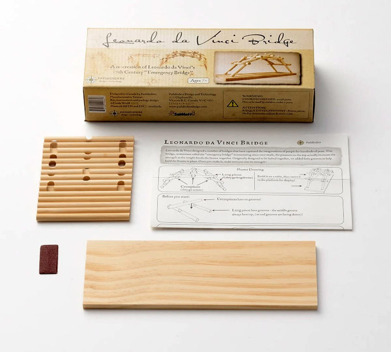 Leonardo Da Vinci Bridge Wooden Kit By Pathfinders Design Box Contents